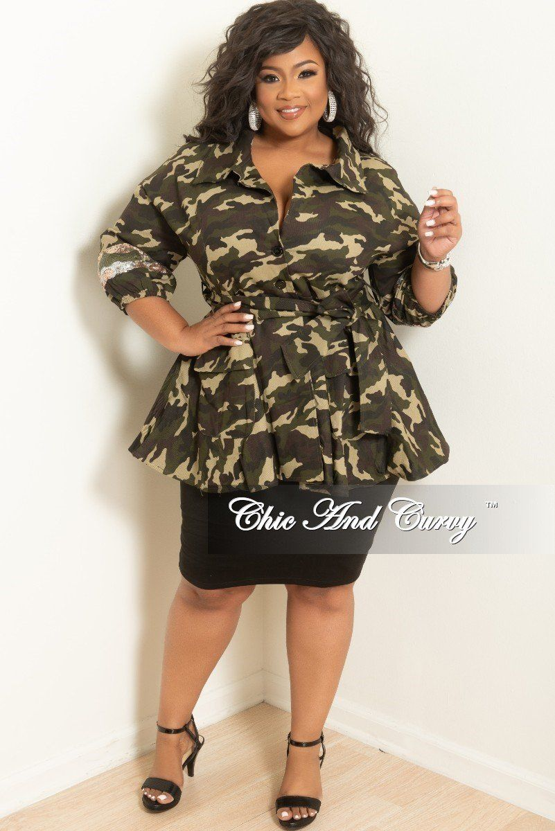 6766960fb1c Plus Size Sequin Peplum Jacket with Tie in Camouflage Print – Chic And Curvy