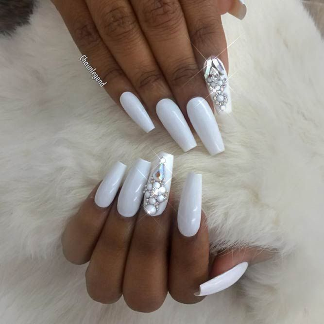 Extra Long White Coffin Nails With Glitter And Rhinestones Long Acrylic Nails Coffin Best Acrylic Nails White Acrylic Nails