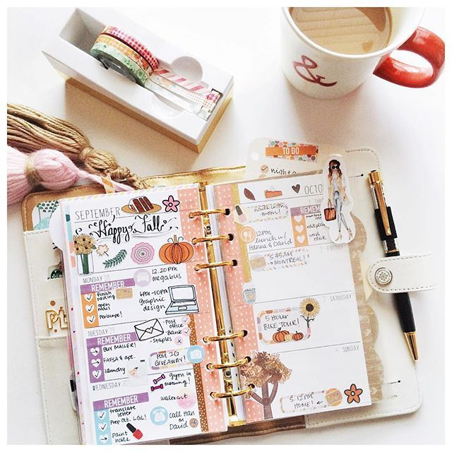 By therachmark on Instagram #plannerdarlingspotd 1. Coffee ☕️ Here is my week so far in my personal planner! Theme was based on fall stickers from @willowsplanbox and of course no planning is complete without my coffee by my side  {all shops are tagged!}