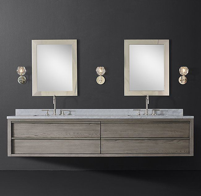 Bezier Double Extra Wide Floating Vanity Floating Vanity
