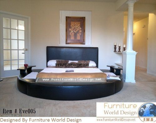 Queen Size Leather Round Bed With 2 Night Tables Item Eve005