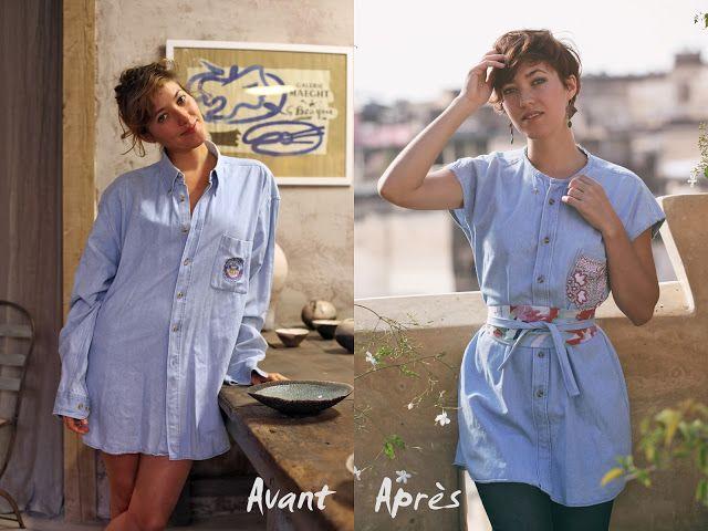 289f26554fb769 journal d'une créatrice de mode: Chemises d'homme transformées en vêtements  femme #Avant/Après #Recup'