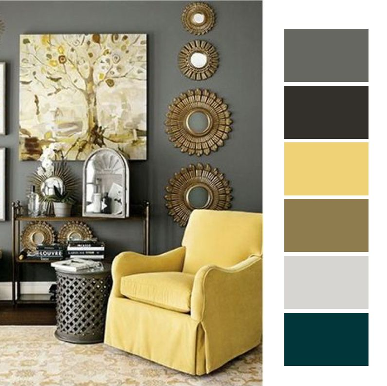 Wall Decoration Living Room Grey Yellow Living Room Interior #yellow #accessories #for #living #room