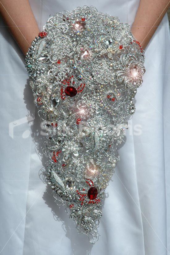 Crystal Teardrop Brooch Bouquet Cascading Wedding Shower Bouquet