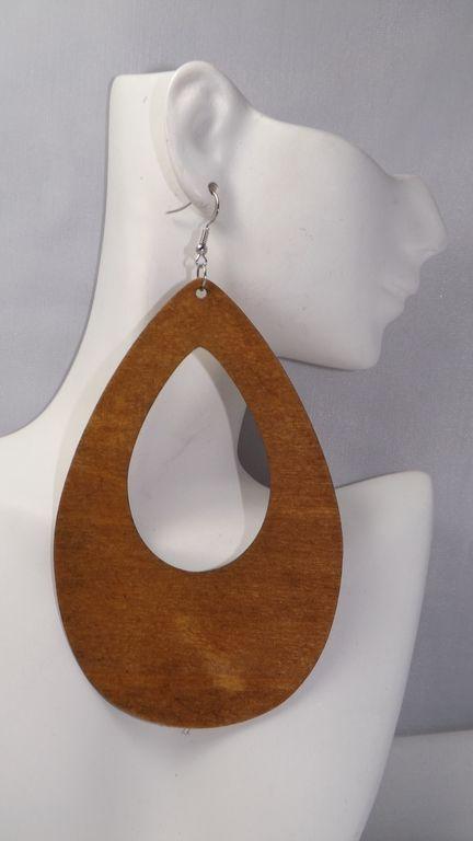 4 Large Wooden Flat Hoops Flat Stylish Wooden Hoop Earrings