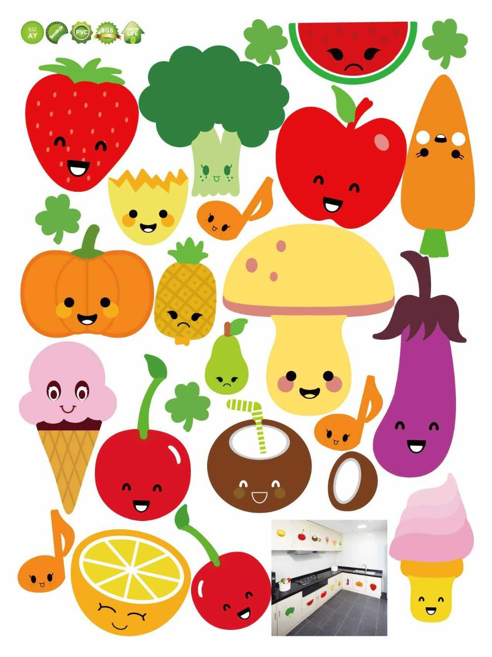 Kitchen Fruit Wall Sticker Decal Kitchenware Wall Tile Stickers for ...