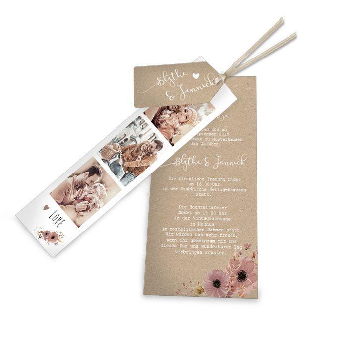Hochzeitseinladung als Kartenset mit Fotostreifen und Hülle