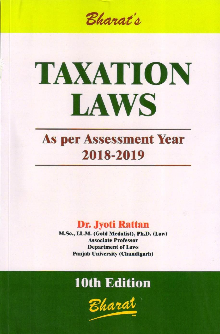 Rattan Jyoti Taxation Laws 10th Edition By Dr Jyoti Rattan Nowbuyonline Www