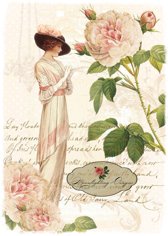 Lady in Pink Digital Download Printable 141-li. $5.00, via Etsy.