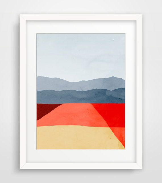 Abstract Art Print, Minimalist Poster, Mid Century Modern Art, Mountains,  Landscape Wall