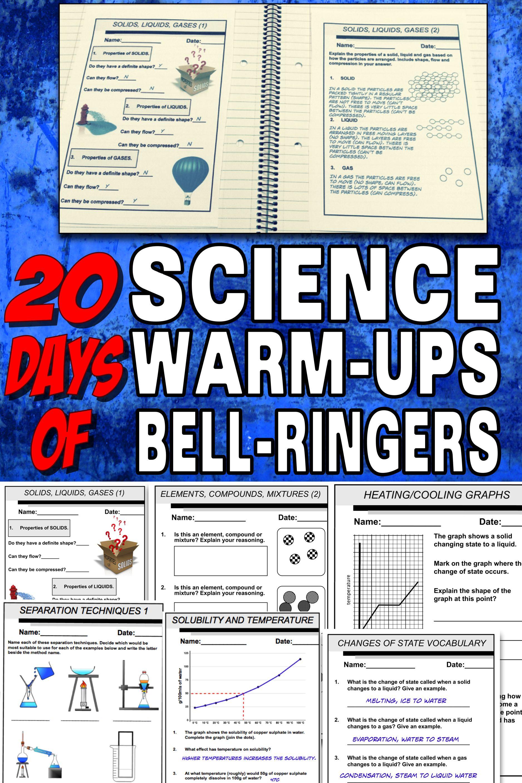 Science Warm Ups Bellringers