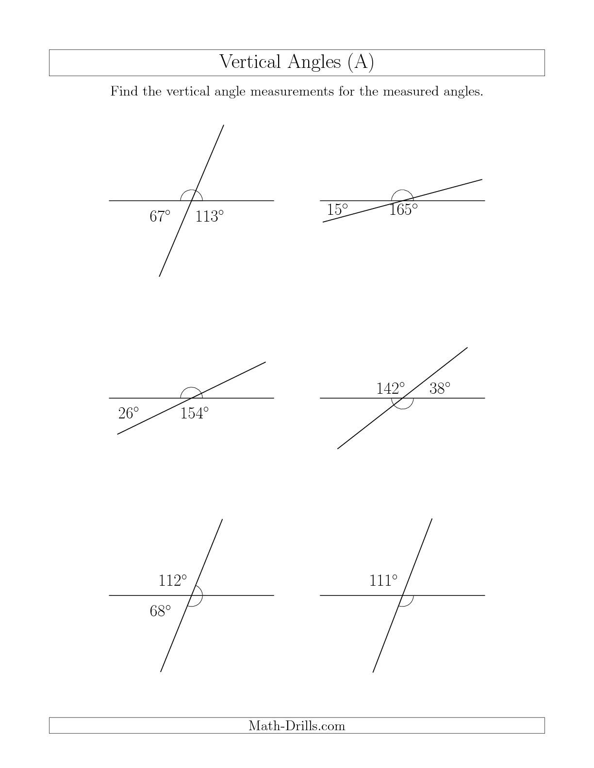 The Vertical Angle Relationships (A) math worksheet from the Geometry  Worksheets page at Math-Drills.com.   Angles worksheet [ 1584 x 1224 Pixel ]