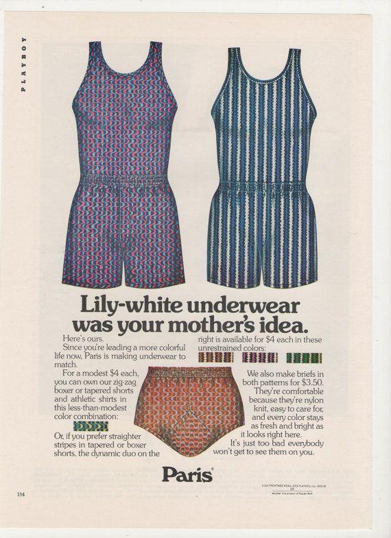 1972 Ropa interior anuncio Lily blanco de París los hombres estampado 70s moda ilustrado boxeadores breves Boutique tienda pared arte decoración