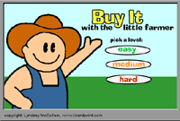 Buy It with the Little Farmer. Learning games for pre-school and elementary school children at Lizardpoint.com