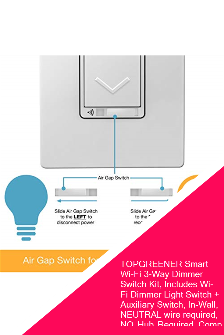 Topgreener Smart Wi Fi 3 Way Dimmer Switch Kit Includes Wi Fi Dimmer Light Switch Auxiliary Switch In Wall Dimmer Switch Dimmer Light Switch Light Switch