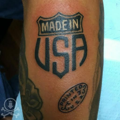"""Rad """"Made In USA' Tattoo By Jose Bolorin. #12ozstudios"""