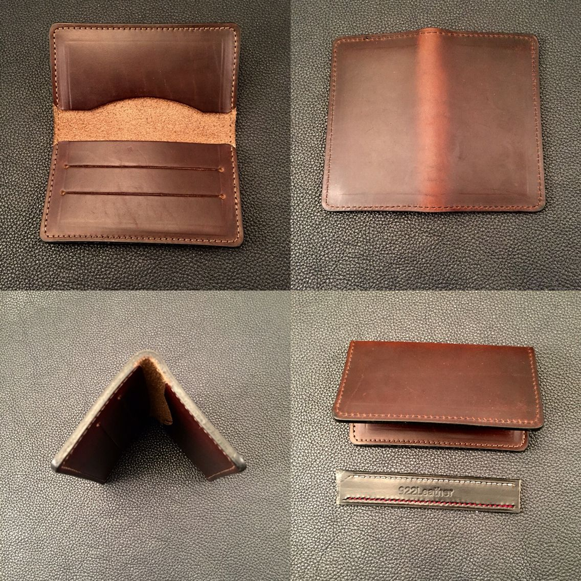 Horween Chromexcel leather micro wallets for graduation gifts from 922Leather.com #techsew #watchstraps #leathercraft #leathergoods