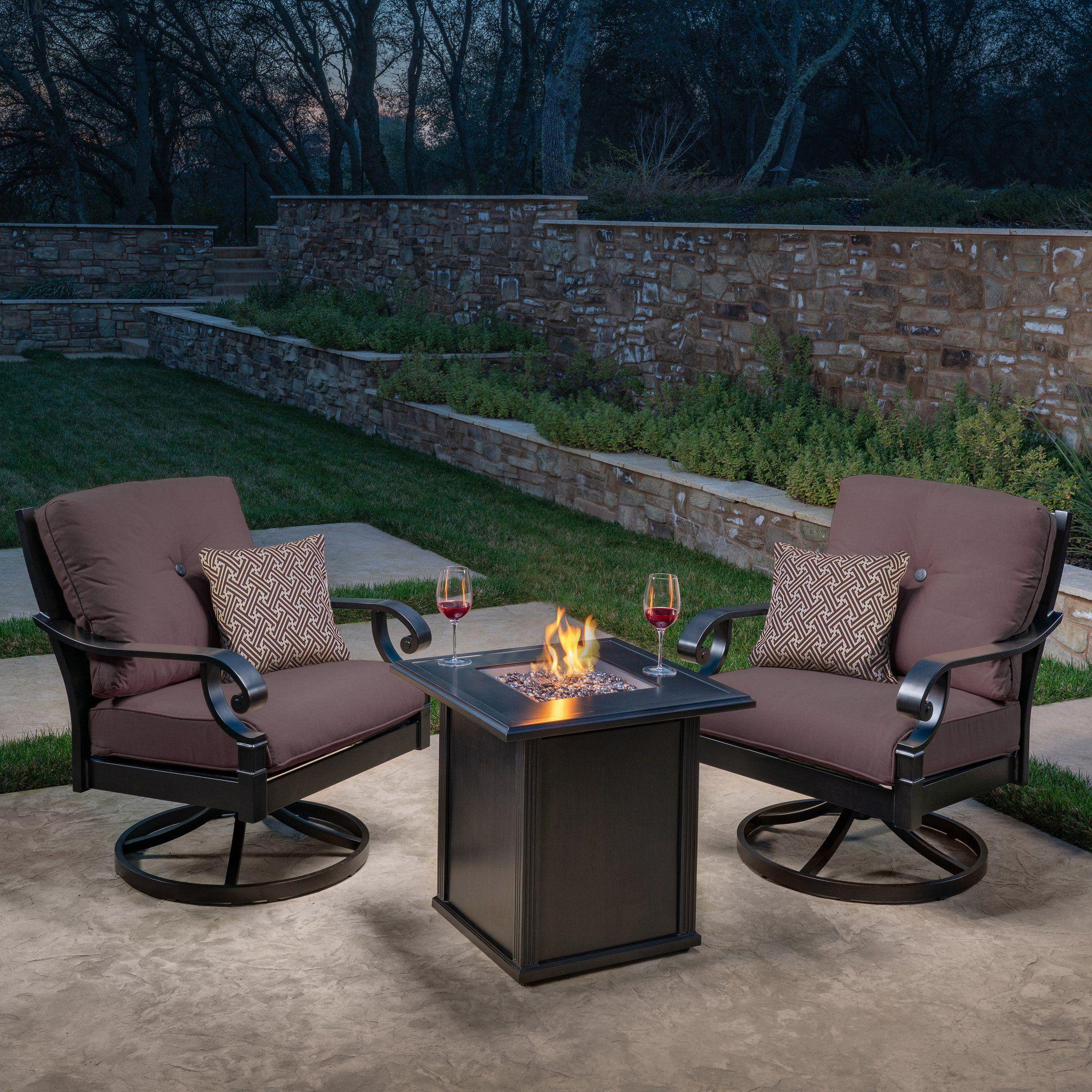 Verena 3 Piece Fire Chat Set Teak Patio Furniture Patio Outdoor Decor