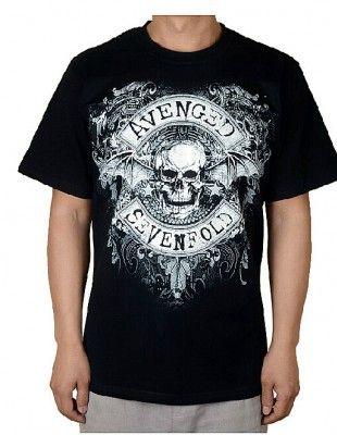 Avenged Sevenfold T Shirts Dbat Crest Skull Hardcore Metal Men Tees-