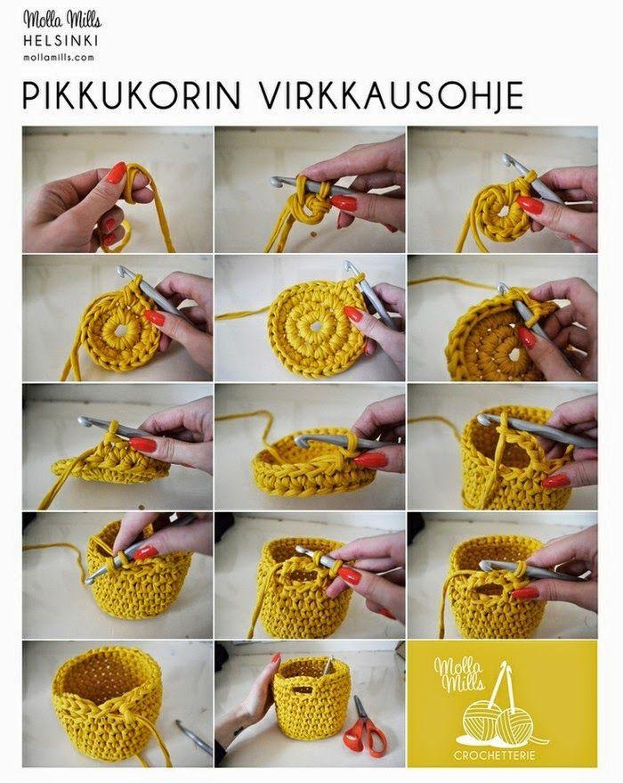 0cbfbb24d083 Como fazer cesto com fio de malha | Tricô e Croché - Diversos | Cestas de  crochê, Fio de malha e Cachepô de crochê