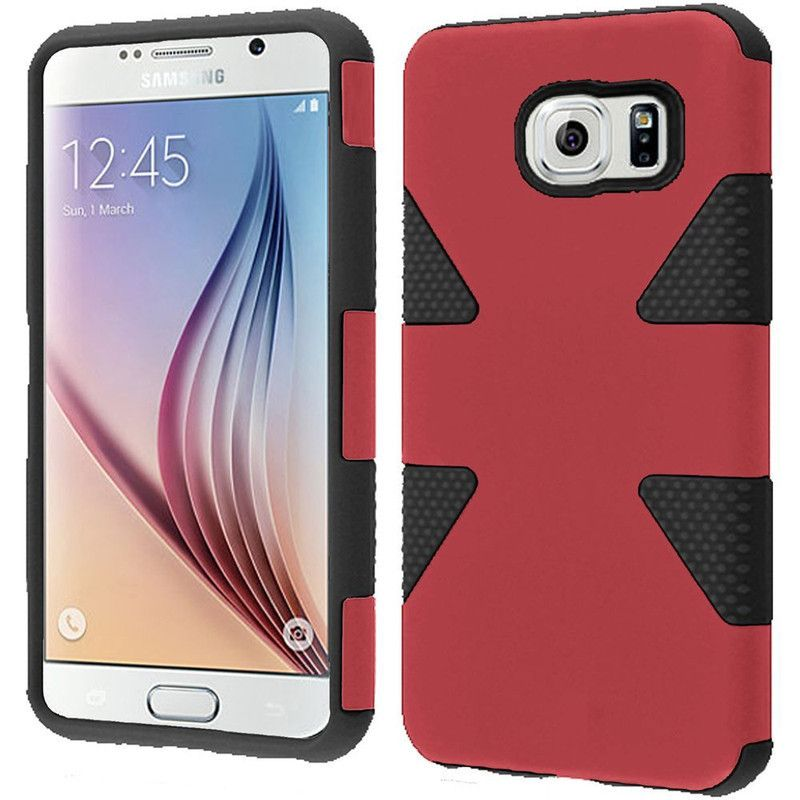 Insten Teal/Hot Pink Dynamic Hard PC/ Silicone Dual Layer Hybrid Rubberized Matte Phone Case Cover For Samsung Galaxy S6