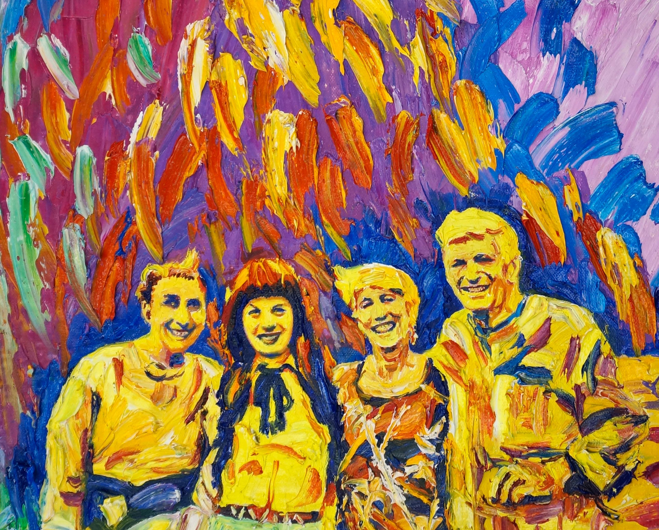 Just Painted This Is A Funky Pop Art Oil Painting Family