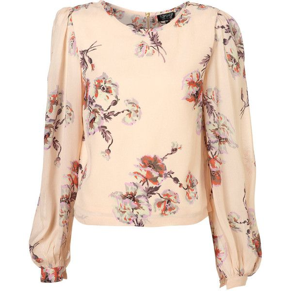 cf1b22ec88c91 Rose Print Waist Blouse ( 76) ❤ liked on Polyvore featuring tops ...