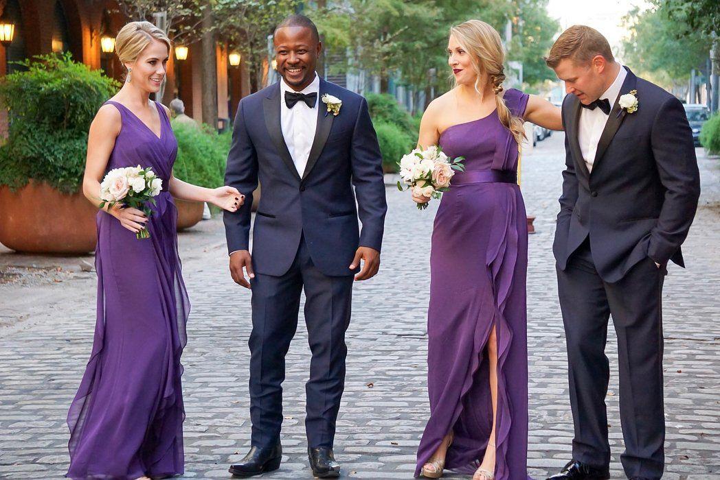 WHITE by Vera Wang plum purple bridesmaid dresses with romantic ...