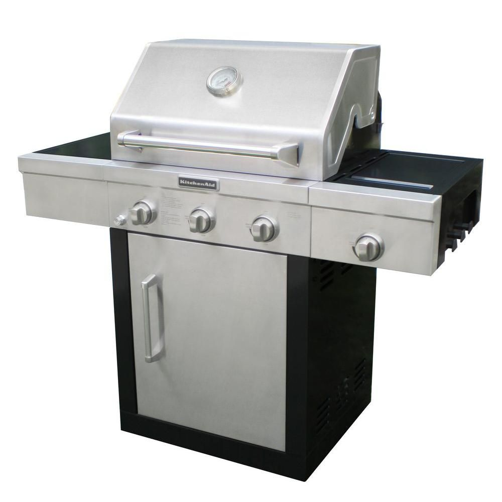 Kitchenaid 3 Burner Propane Gas Grill With Side Burner And Grill Cover 720 0787d At The Home Depot Gas Grill Reviews Grill Cover Kitchen Addition