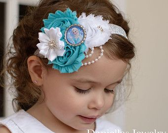 Frozen Inspired Theme Bow Toddler Hair Clip Let it Go Character Bow Baby Girl Dress Up Elsa Bow