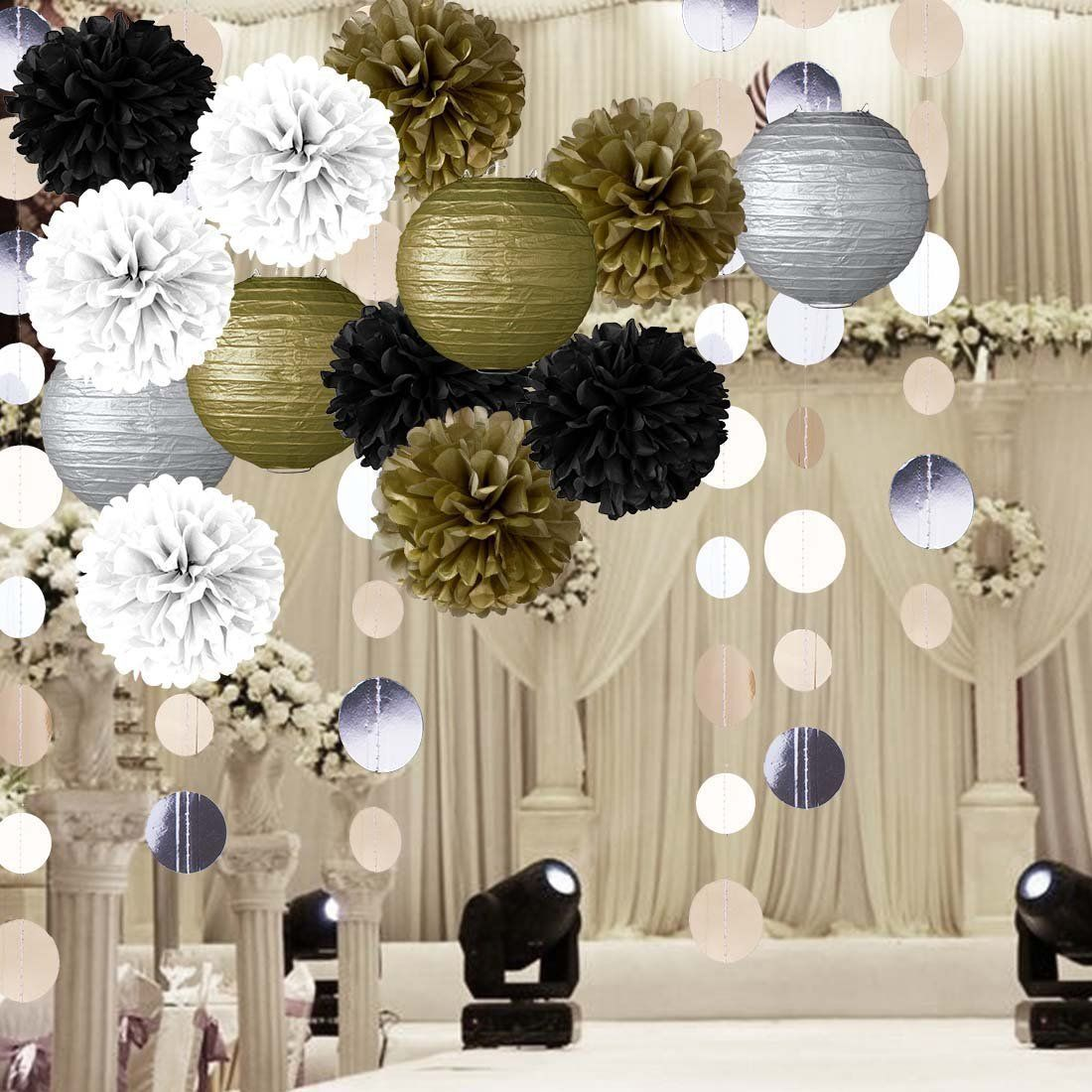 Tissue Paper Flowers Gold Black and White Pom Poms Papers Lanterns ...