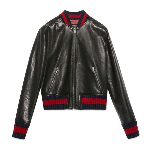 90f2610ab Gucci Embroidered Leather Bomber Jacket ($4,200) ❤ liked on Polyvore  featuring outerwear, jackets, coats & jackets, leather, real leather jackets,  leather ...