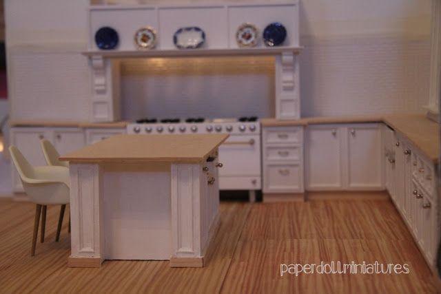 Paper Doll Miniatures Kitchen Island Tutorial Miniature Kitchen Diy Dollhouse Furniture Barbie Kitchen
