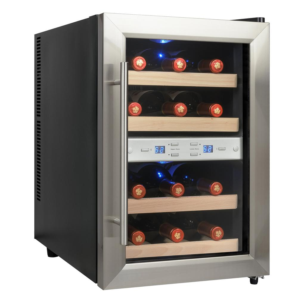 Akdy 12 Bottle Dual Zone Thermoelectric Wine Cooler In Stainless Steel With Reversible Door Design Wc0028 The Home Depot Thermoelectric Wine Cooler Wine Cooler Door Design Dual zone wine cooler freestanding