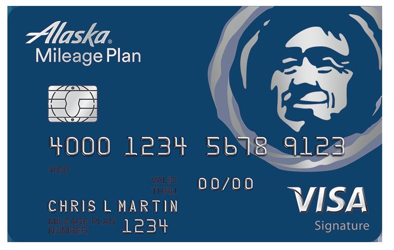 Alaska Airlines Visa Signature card Kreditkarte, Visitenkarten