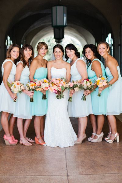 Hint if Mint and Gulf Stream Bridesmaids.  http://www.donna-morgan.com/by-color/gulf-stream/icat/gulfstream