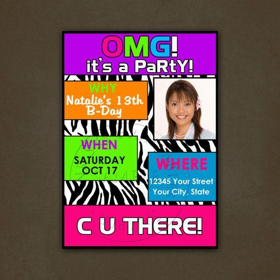 Teen Tween Birthday Party Invitation by PinkSkyPrintables