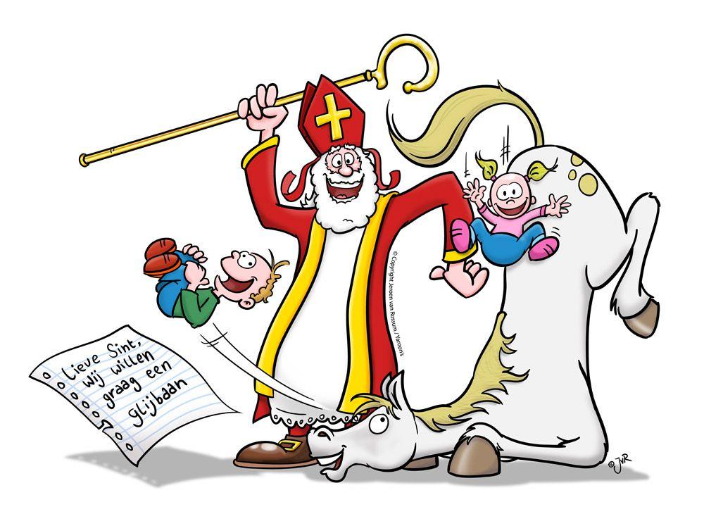 Lieve Sint, wij willen graag een glijbaan', Jeroen van Rossum   Cartoon  illustraties, Cartoons, Sinterklaas