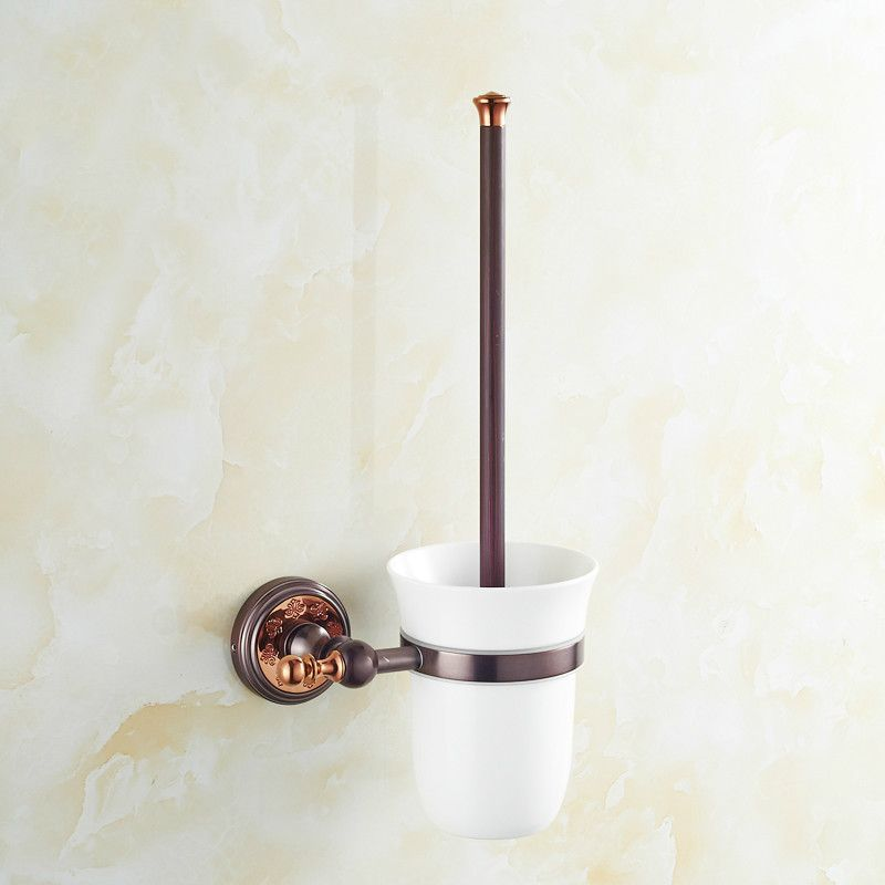 European Copper Toilet Brush Holder Rose Gold Brass Toilet Brush Holder Fashion Orb Toilet Cleaning Brus Toilet Cleaning Toilet Brush Holders Bathroom Fixtures