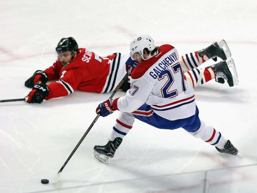 Brent Seabrook of the Chicago Blackhawks hits the ice to block a shot attempt by Alex Galchenyuk of the Canadiens at the United Center on Jan. 17, 2016, in Chicago.