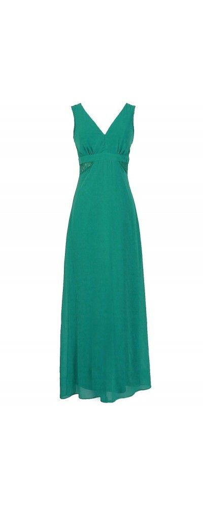 Lily Boutique Last Night Chiffon Maxi Dress With Lace Insets in Jade, $54  www.lilyboutique.com