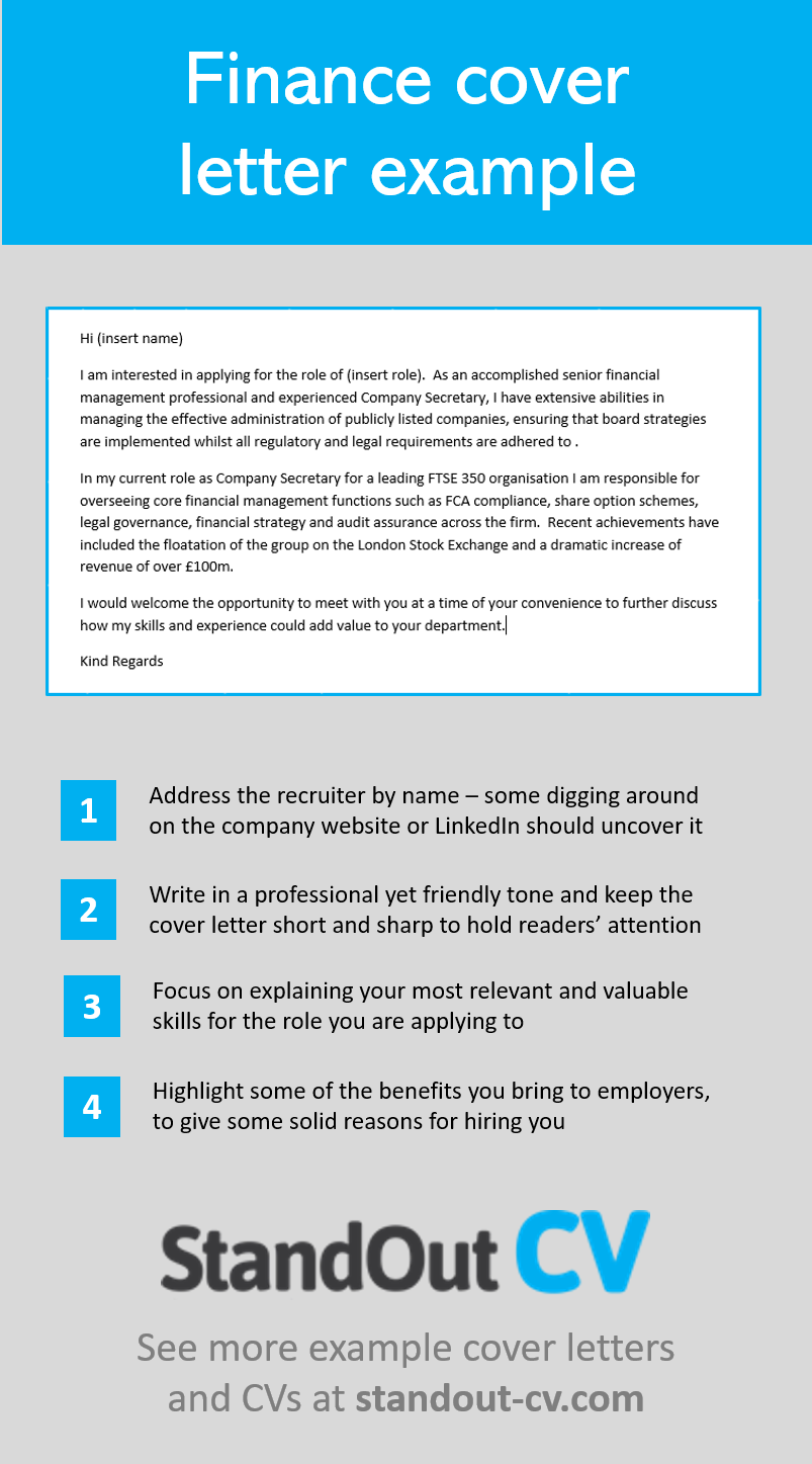 CV cover letter example (finance). Write a strong cover letter to ...