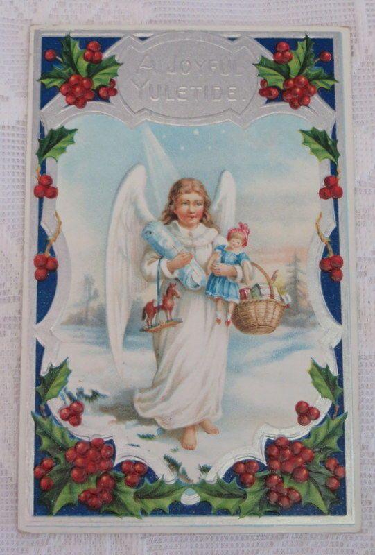 Vintage Christmas Postcard , Angel With Toys & Silver Highlights #Christmas