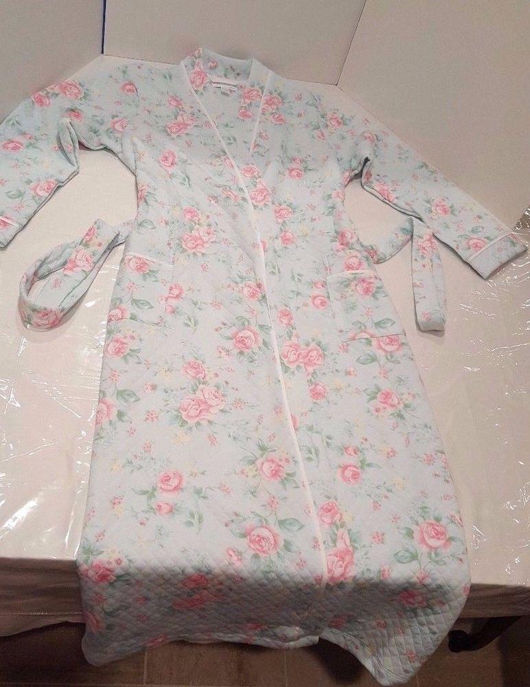 9d464fc93a Carole Hochman Womens Floral Diamond Quilt Long Robe Size M Cottage Blue   CaroleHochman  Robes