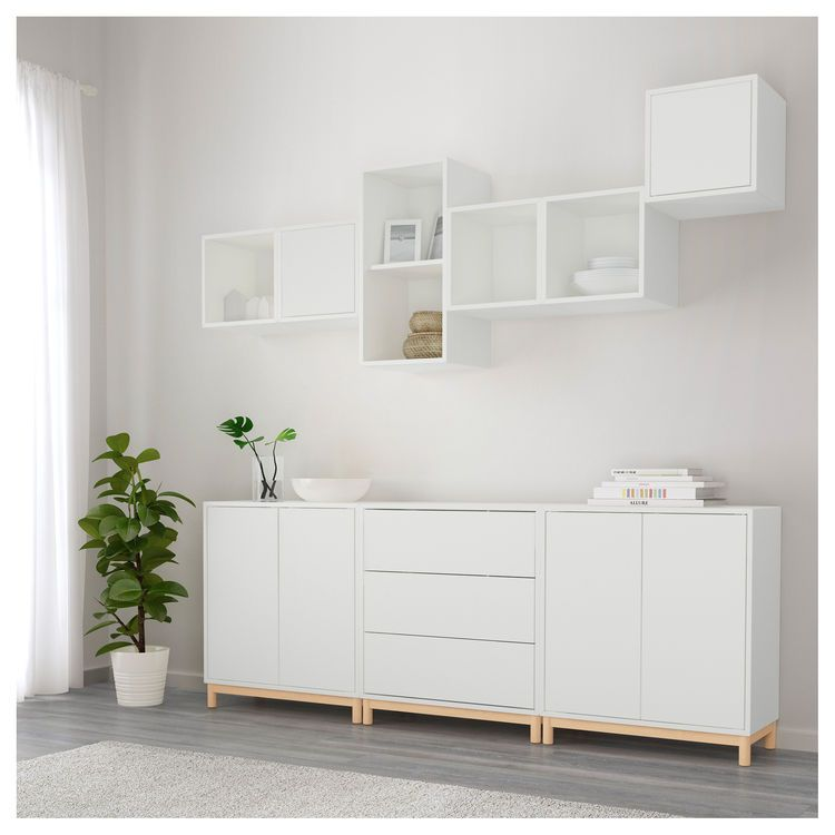 eket cabinet combination with legs white 210x35x210 cm wohnzimmer neue wohnung und flure. Black Bedroom Furniture Sets. Home Design Ideas