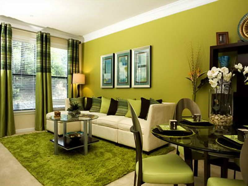 Modern Living Room With Various Shades Of Green