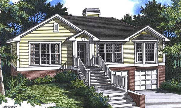 Houses with garages under house plan description this for Ranch house with garage
