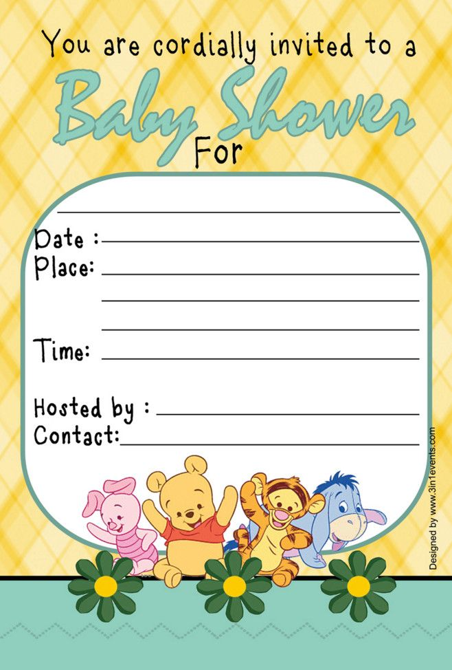 winnie the pooh baby shower invitations templates | winnie the, Wedding invitations