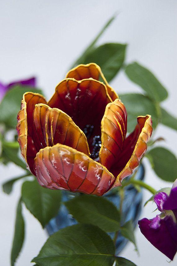 red tulip flower hair pin, japanise wedding, bridal kanzashi, spring flower, birthday gift idea, resin flower, bridal hair accessory, OOAK #brautblume