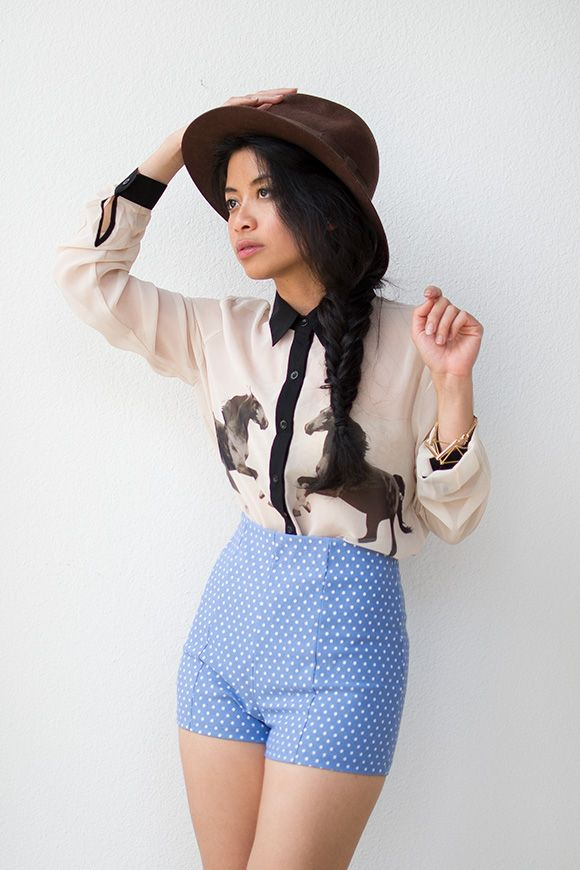 vintage inspired horse print blouse with pipe trim | Black Stallion Blouse $58
